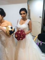 Wedding dress finished with SBS Creations beautiful bouquet
